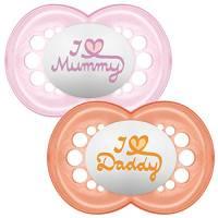 MAM - Set di 2 succhietti con scritta: I love Mummy/Daddy, con custodia da viaggio sterilizzabile, 6+ mesi, Rosso (Red/Pink)