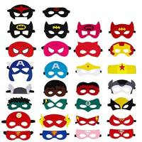 QH-Shop Maschere di supereroi, Maschere Feltro Mascherine del Partito Maschere Occhio Maschere Parte con Nastro Elastico per Festa, Mascherata, Halloween per Bambini 30 Pezzi