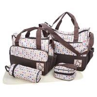 Babyhugs, set da 5 pezzi con borsa per il parto e borsa fasciatoio per il cambio del pannolino,marrone e pois colorati