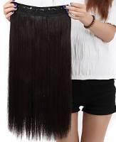 Extension dei capelli, 1 pezzi con 5 clips, 3/4 testa piena, colore: Marrone scuro, dimensioni: 58 cm-dritto
