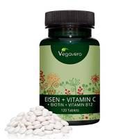 Integratore di Ferro con Vitamina C - Biotina + Vitamina B12 Vegavero | Ideale nel caso di Carenza – Ricostituente durante Mestruazioni – Dieta Vegetariana – Unghie e Capelli | Scegli fra 120 e 365 Compresse | Integratore certificato Vegan - Privo di Glutine | Analisi a disposizione