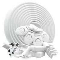 DEASANA® Paraspigoli Bambini Angolari Gomma Kit Sicurezza Casa 2a Generazione 7+ Metri Totali Protezione Spigoli 8 Angoli Rotolo Paracolpi, Fermaporta, 4 Chiusure Blocca Cassetti, Certificato [Bianco]