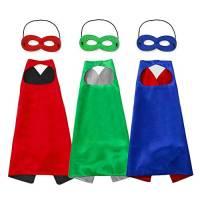 Costumi da Supereroi per Bambini, Mantelli e Maschere per Partito Scuola Ragazza Ragazzo Mascherata, Regali di Compleanno Costumi di Carnevale - 3pack Rosso Verde Blu