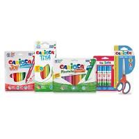 Carioca Set Easy School | Set Cancelleria Scuola con Matite Colorate, Pennarelli Lavabili per Bambini, Pastelli a Cera, Colla Stick e Forbici a Punta Arrotondata, 40 Pezzi