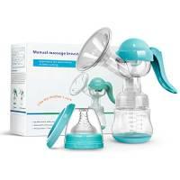 PiAEK Tiralatte Manuale - Natural con Biberon e Tettarella Cuscino Massaggiante senza BPA (Blu)