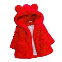 Giacca Ragazzo E Ragazza Giacche con Cappuccio Animale Mantello del Cappotto di Inverno della Pelliccia della Neonata Giacca Vestiti Caldi Spessi Abbigliamento 1-6 Anni (5-6 Anni, Rosso)