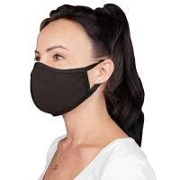 SET 5 mascherine Fasce protettive viso bocca naso lavabili riutilizzabili assorbenti in tessuto (nero)