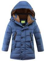 Vogstyle Bambini Giubbotto Piumino Invernale Ragazzi Ragazze Leggero Impermeabile Cappotto con Cappuccio Blu 8-9 Anni/Altezza 130-140