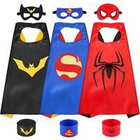 Sinoeem Costumi da Supereroi per Bambini-3 Mantelli e 3 Maschere- Regali di Compleanno - Costumi Carnevale Mantelli e Maschere Giocattoli per Bambini e Bambine (3pcs Capes-B)
