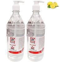RMOVE 2 flaconi da 1 litro cadauno di gel igienizzante mani 70% ALCOL Gel mani profumato al limone arricchito con olii essenziali di Aloe e Timo