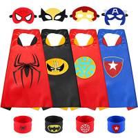Sinoeem Costumi da Supereroi per Bambini-4 Mantelli e 4 Maschere- Regali di Compleanno - Costumi Carnevale Mantelli e Maschere Giocattoli per Bambini e Bambine (4pcs Capes - Boy)